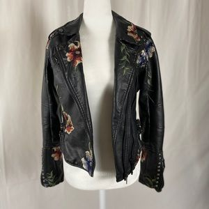 Blank NYC embroidered leather jacket
